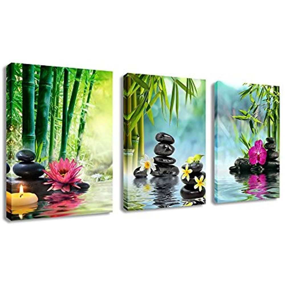 Bamboo Home Decorati Canvas Prints Spa Stone 3 Panel Wall Art Canvas Painting