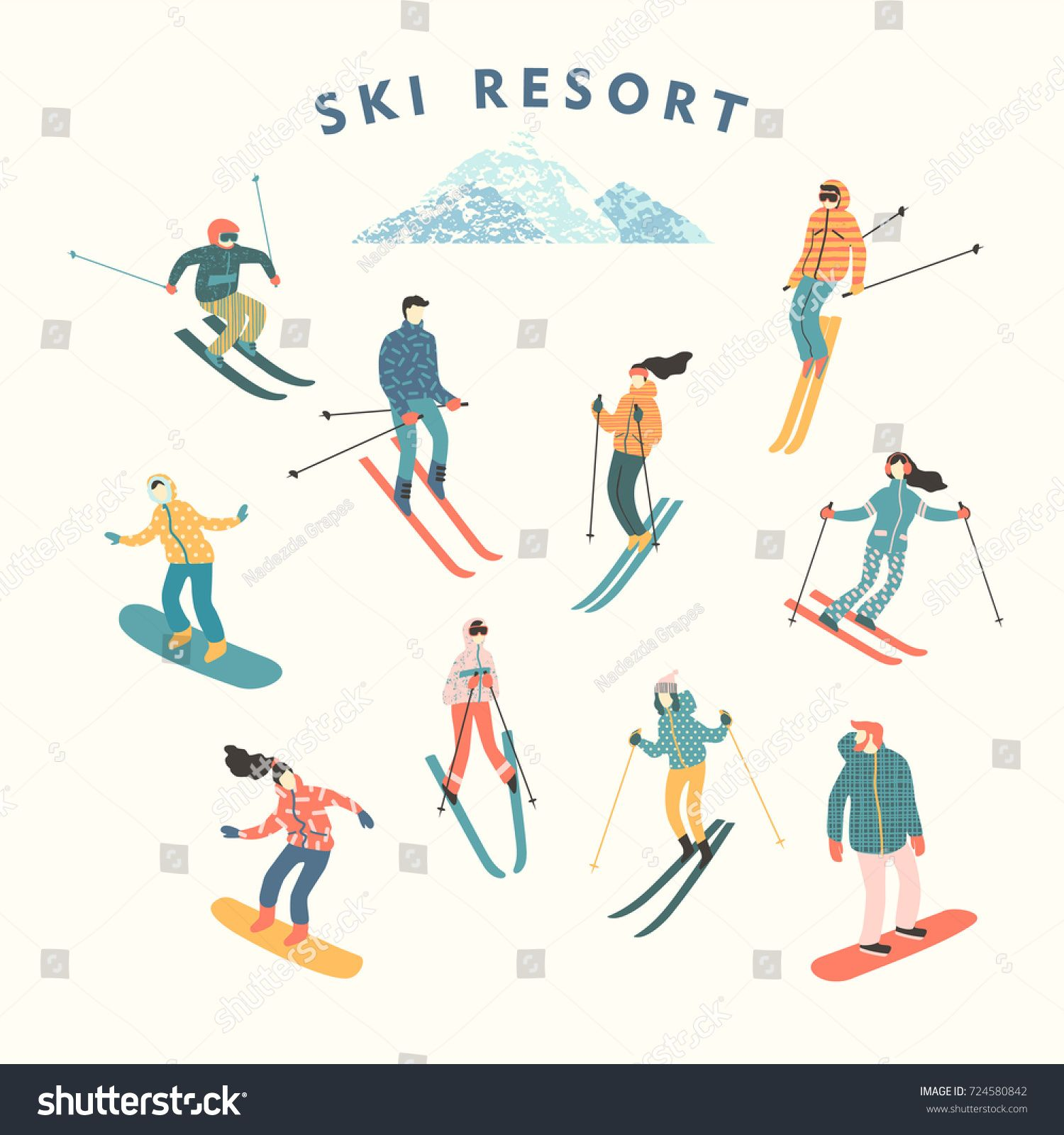 Vector Illustration Skiers Snowboarders Sports Men Royalty