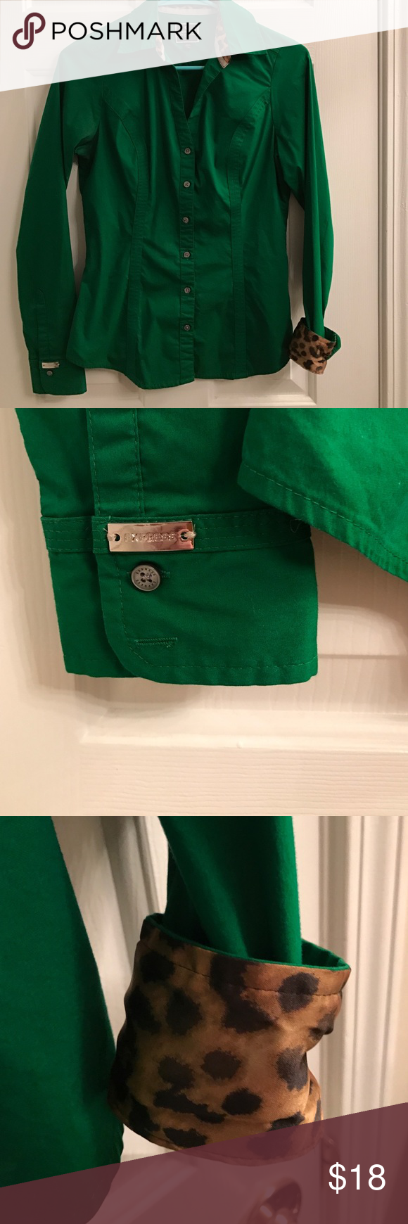 Woman's button up True green button up blouse. Has a cheetah lining so when you cuff the sleeve you can see this patter.  Or wear it not cuffed for traditional look. Express Tops Blouses