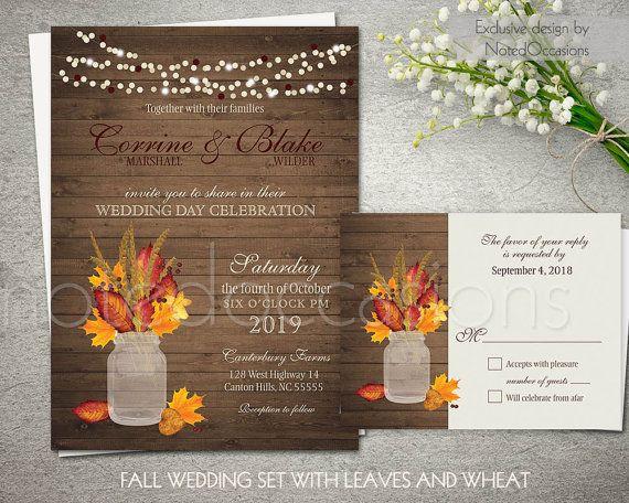 rustic fall wedding invitations printable set by notedoccasions - Rustic Fall Wedding Invitations