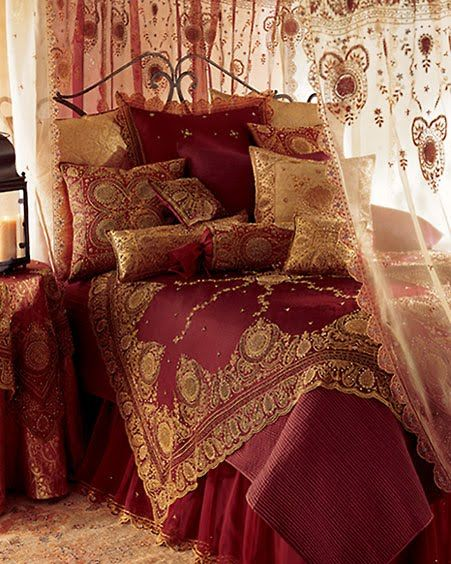 Red Gold Bedroom Love That The Canopy And Side Table Matches The Comforter Exotic Red