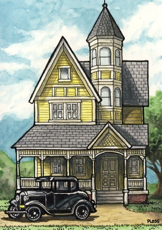 "Mansion Drawing: ""Good Old Days"" -- Photographic Print Professionally Made"