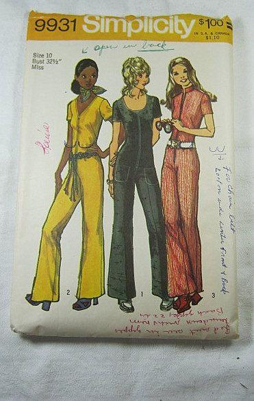 Vintage 70s MOD JUMPSUIT PATTERN Size 10 Groovy Uncut | Pinterest