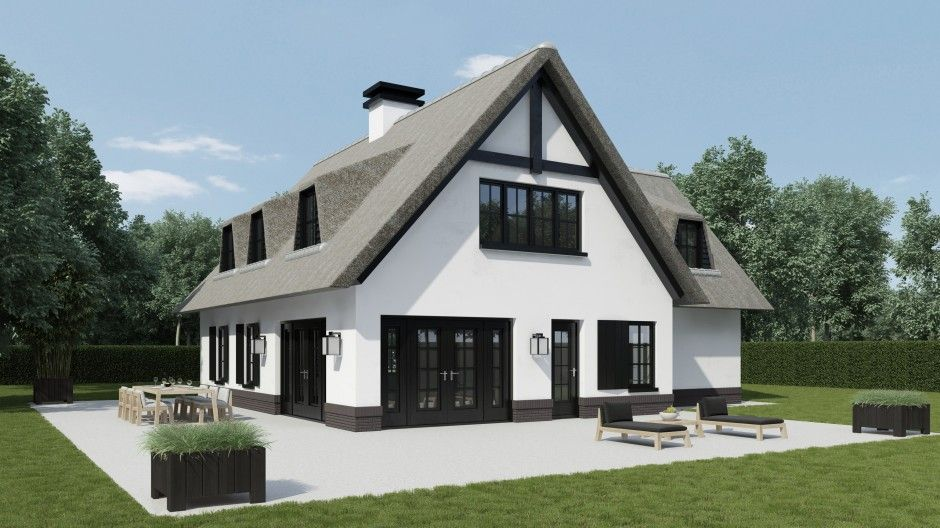 Eigen huis bouwen rieten kap google zoeken huizen idee n pinterest rieten zoeken en google for Moderne stijl gevel