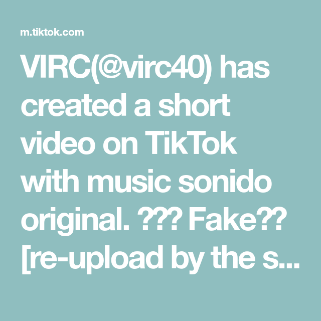 Virc Virc40 Has Created A Short Video On Tiktok With Music Sonido Original Fake Re Upload By The Shadow Ban And Awake And Alive The Originals Music