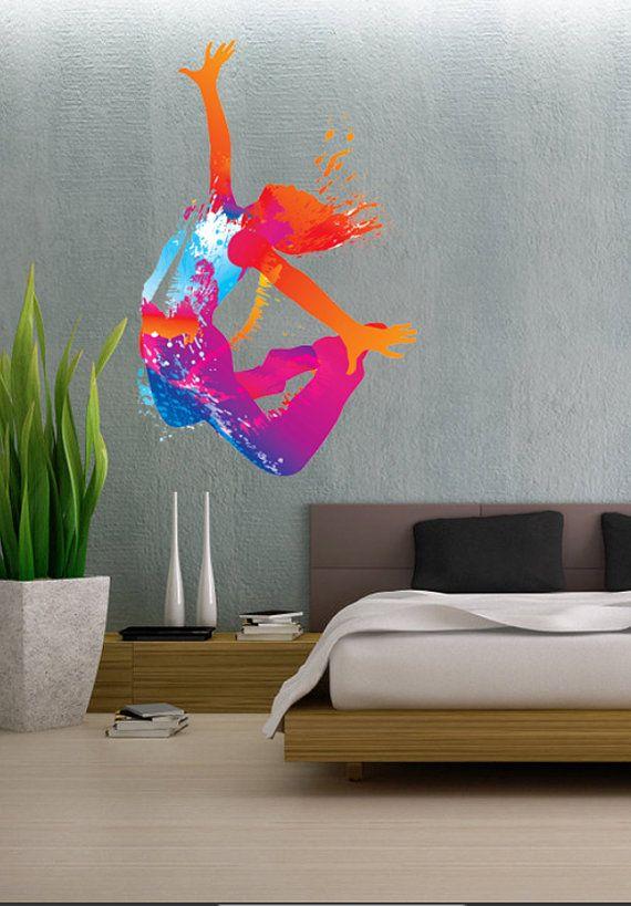 Colorful Dancing Girl Dance Full Color Wall Decal Vinyl Decor Art Sticker Removable Mural Modern B138 Vinyl Wall