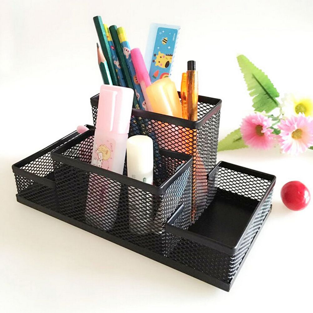 Sturdy Mesh Reading Desk Organizer Metal Storage Box Metal Pen Holder Office  Home Supplies Holding Stationery