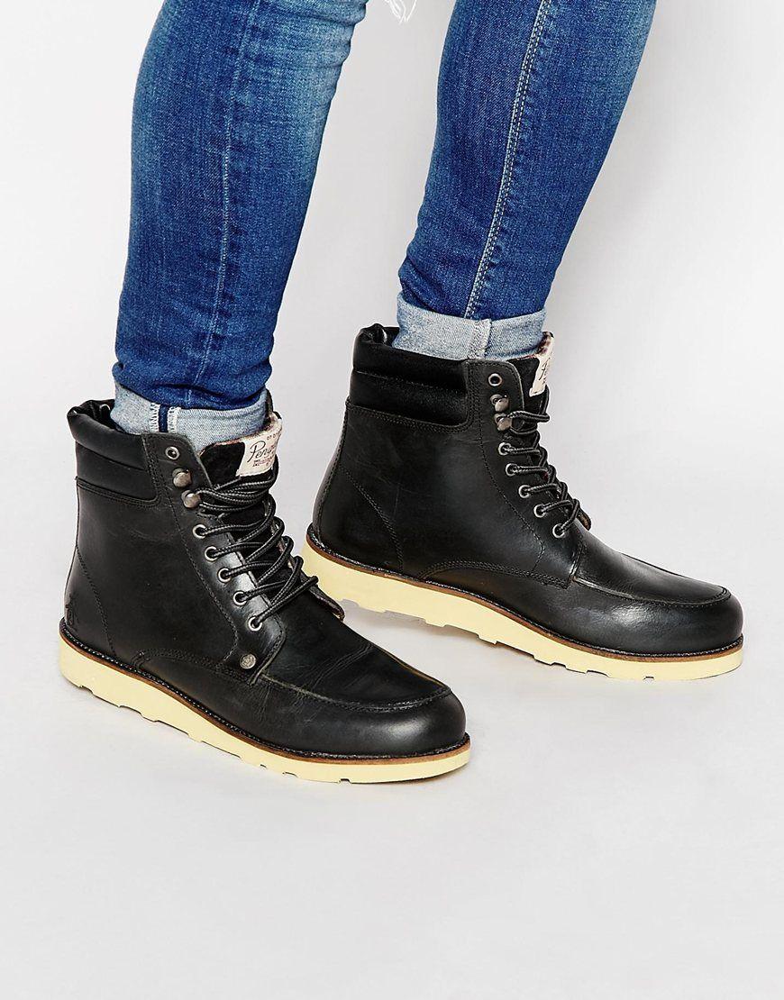 cb6ea2da54bfcb Schuhe von Original Penguin weiches Obermaterial aus Leder Schnürung  Metallösen Markenlogo auf der Zunge Gepolsterter Schaft abgesetzte