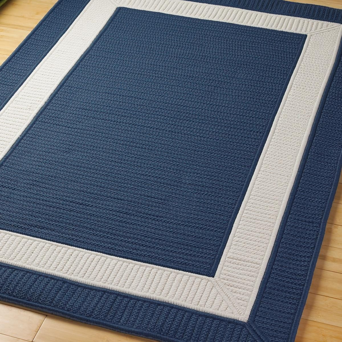 Border Braided Indoor Outdoor Rug Home Decor Blue
