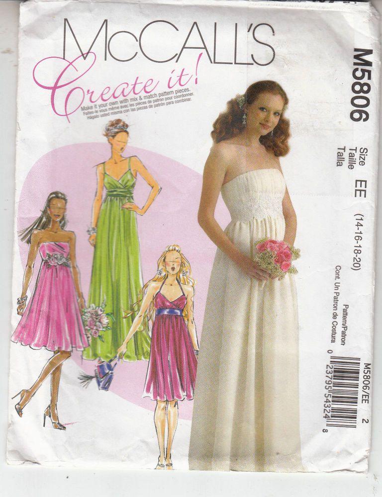 Wedding Bridesmaid Bride Dress Strapless Straps McCalls Pattern 5806 ...