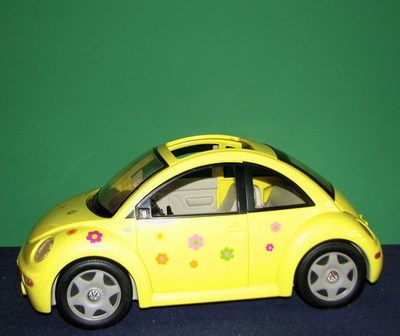 d33bf45bda7 Large Flashy Yellow Barbie VW Beetle Flower Decals This car rocks Take a  Look NR I didn t know Barbie had this much class !