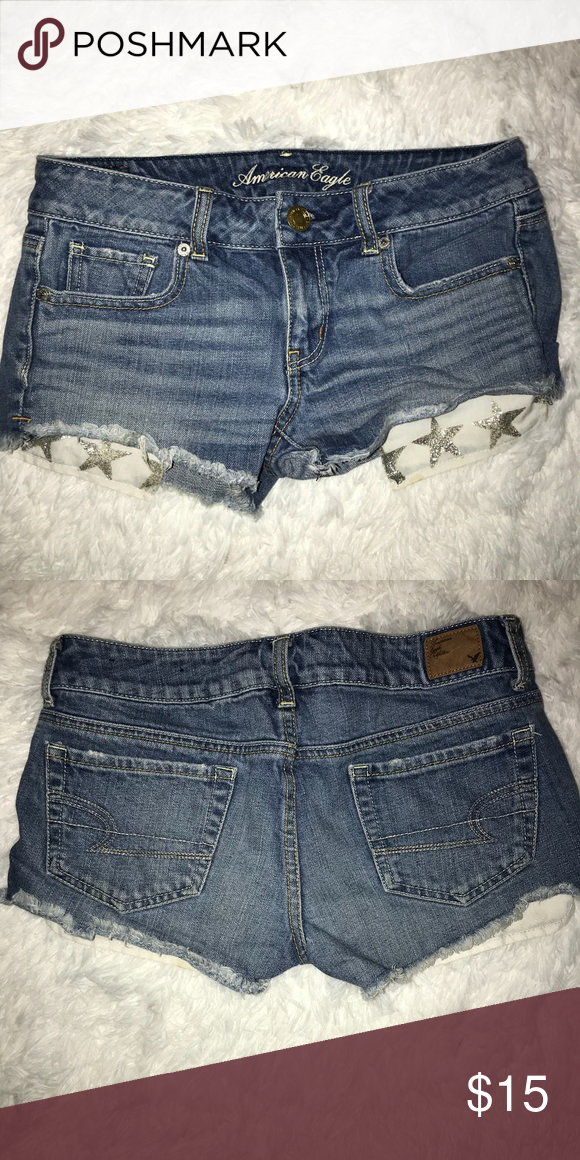 ed2b21358f0 Pockets hang out with glitter stars on them. Shorts are frayed at the  bottom, from a smoke free home American Eagle Outfitters Shorts Jean Shorts