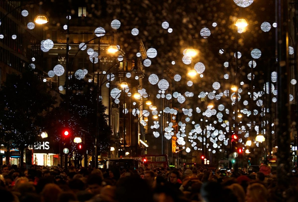 Silver Lights And 445 Golden Baubles Have Been Installed Along The Street To Create Effect