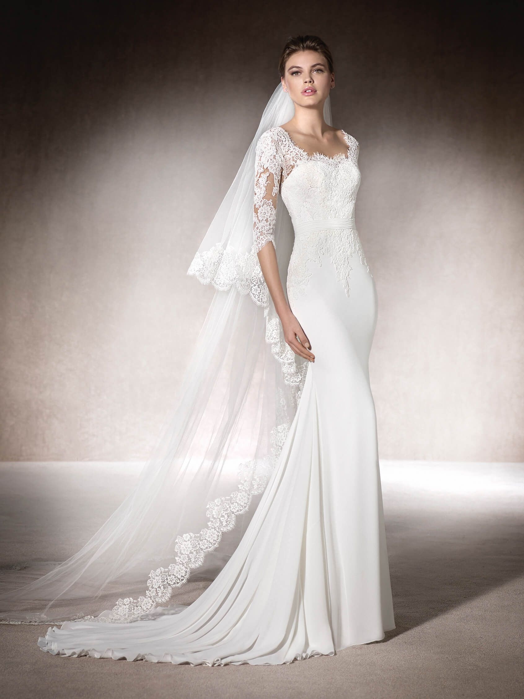 MINERVA is a beautiful mermaid wedding dress in gauze, lace and ...