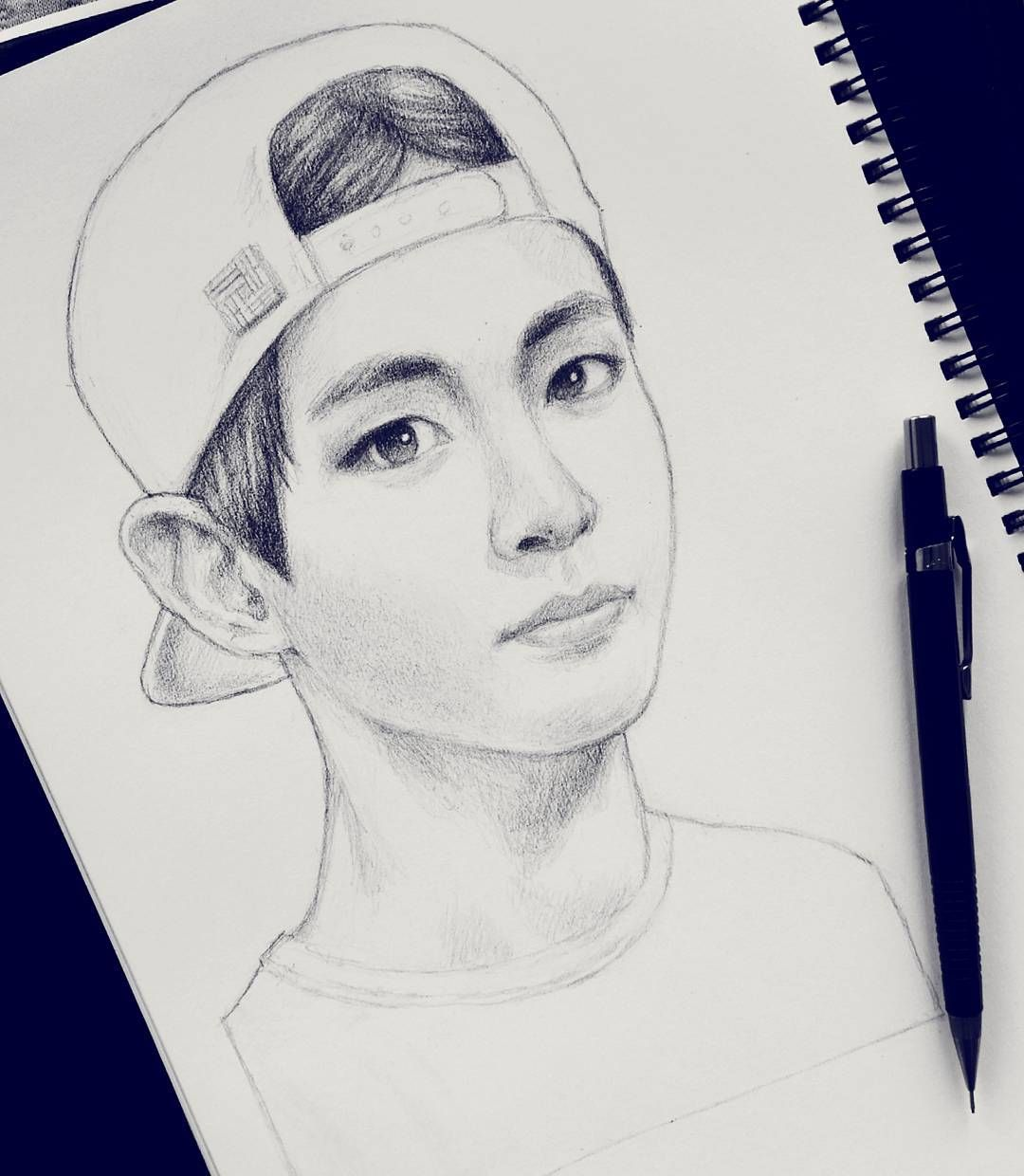 """""""Sketching Taehyung  Hi guys hope you all are doing well, eat lots of fruit and have a nice day^^"""""""