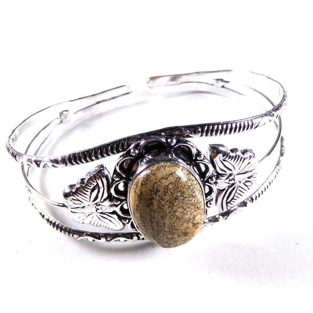 Picture Jasper Gemstone Bangle Cuff Bracelet Charm Women's Gift Fashion Jewelry #Unbranded #BangleCuff