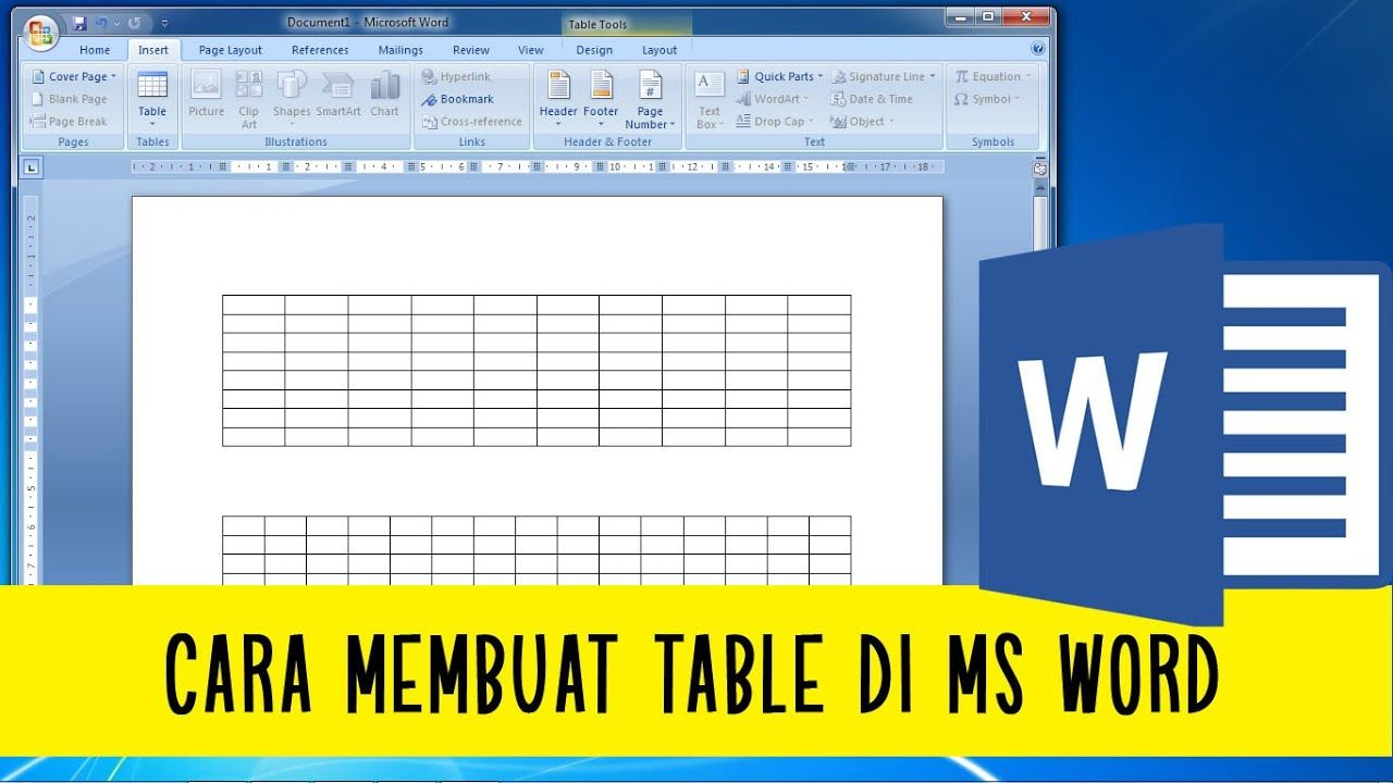 Cara Membuat Table Di Ms Word Belajar Ms Word Ms Word Words Cara