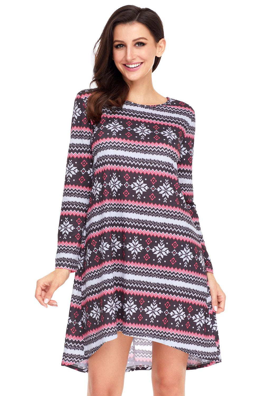 Black Red Christmas Geometric Snowflake Long Sleeve Dress Fashion Clothes Women Clothes For Women Fashion [ 1500 x 1001 Pixel ]