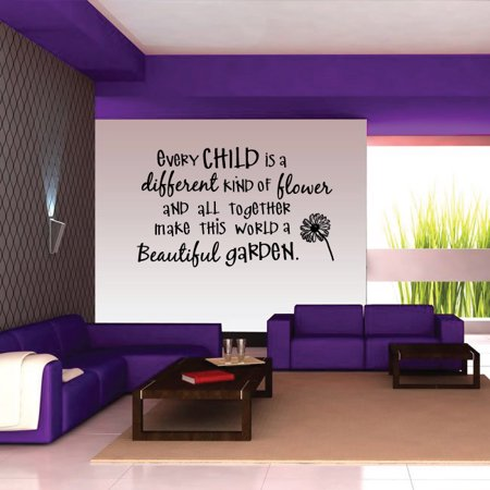 Every Child Is A Different Kind Of Flower Wall Decal Vinyl Decal Car Decal Vd005 36 Inches Walmart Com In 2020 Vinyl Wall Decals Mermaid Wall Decals Butterfly Wall Decals