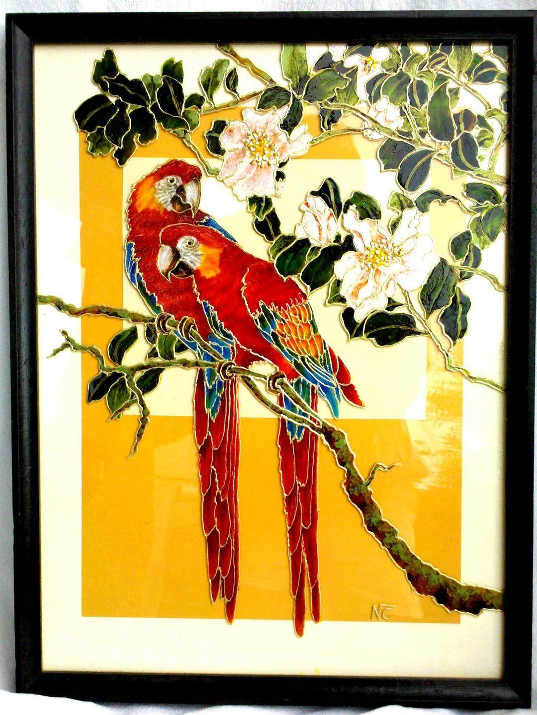 tableau peinture sur verre amours de perroquets peintures par mamycole lapas pinterest. Black Bedroom Furniture Sets. Home Design Ideas