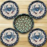 Blue Crab Round Coasters & Basket Holder 5-Piece Set