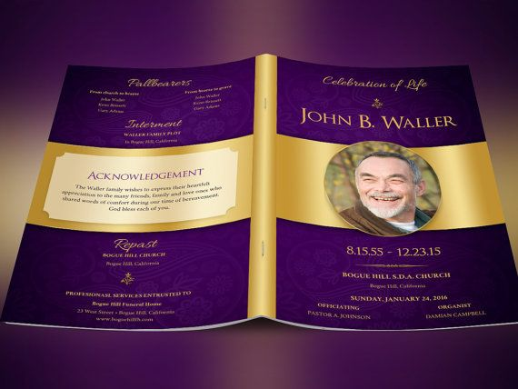 Regal Funeral Program Template  Publisher by Godserv on Etsy