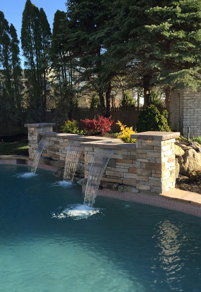 Waterfall We Installed On Long Island Pool Waterfall Swimming Pools Backyard Pool Water Features