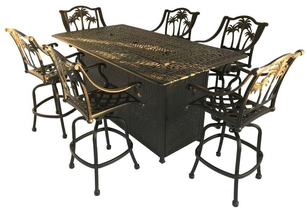 Fire Pit Propane Bar Table Set 7 Piece Outdoor Cast Aluminum Palm