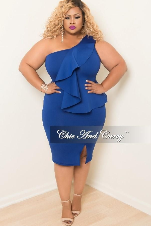 ee0265df2316 Plus Size One Shoulder BodyCon Ruffle Dress with Front Slit in Royal Blue –  Chic And