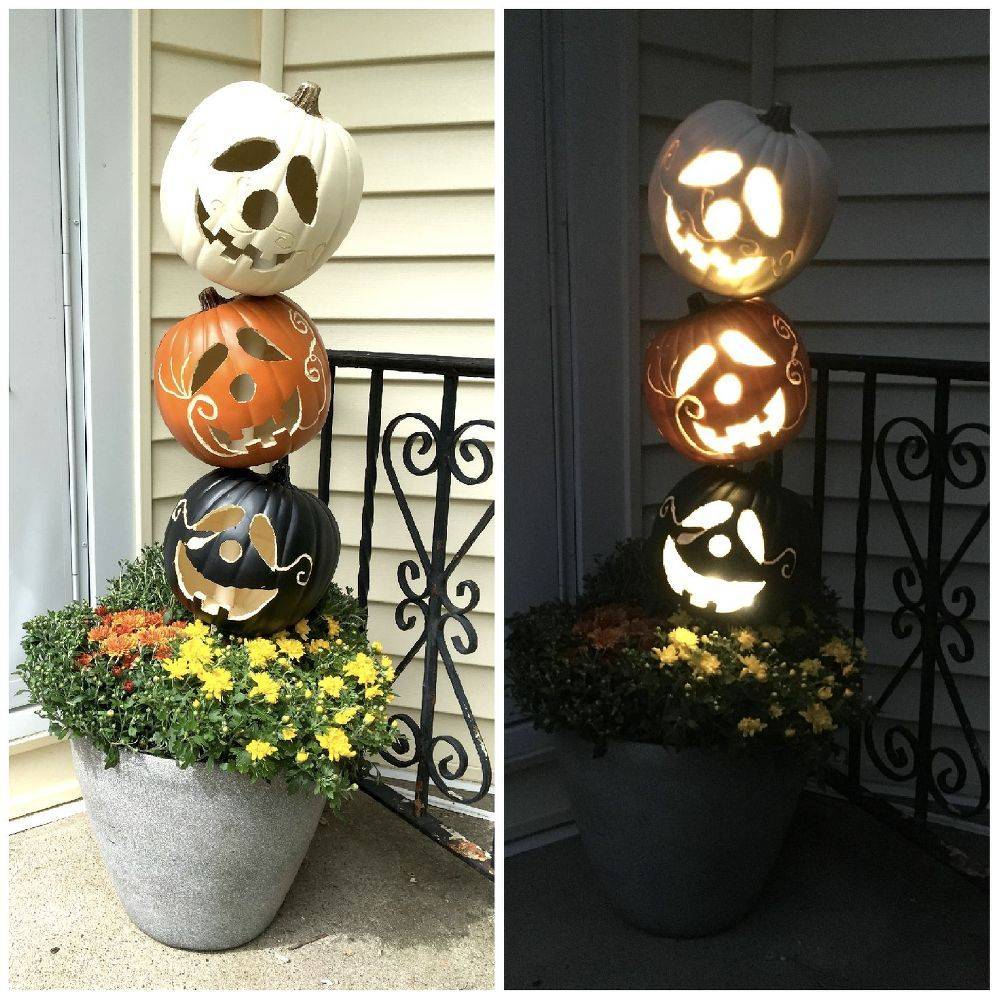 Pumpkin Topiary Ideas Part - 34: She Pokes A PVC Pipe Into A Planter, And 2 Hours Later, This Fall Porch Idea  Is Gorgeous!