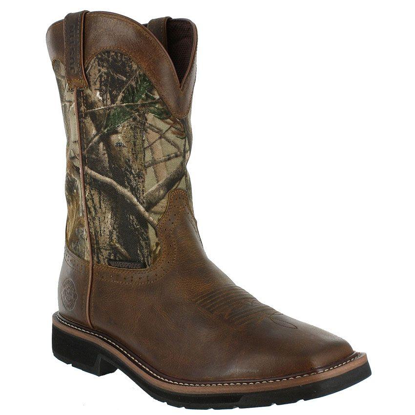 Justin Men S Stampede Camo Waterproof Work Boots Boots