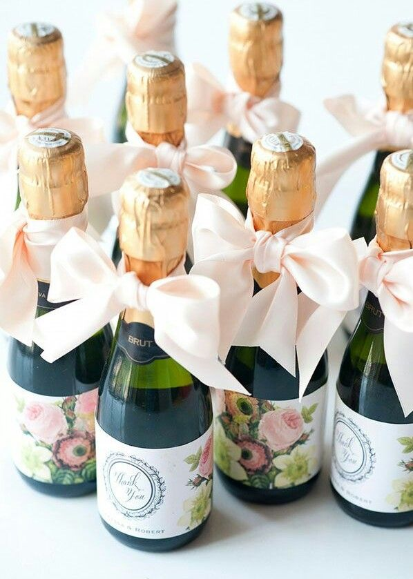 How Gorgeous Are These Mini Champagne Wedding Favors Perfect For A Clic Elegant Reception Or Bridal Shower Add Personal Label Satin Ribbon
