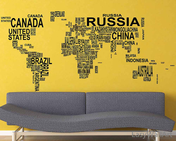 world map wall decal - world map with coutry name decal - worldmap