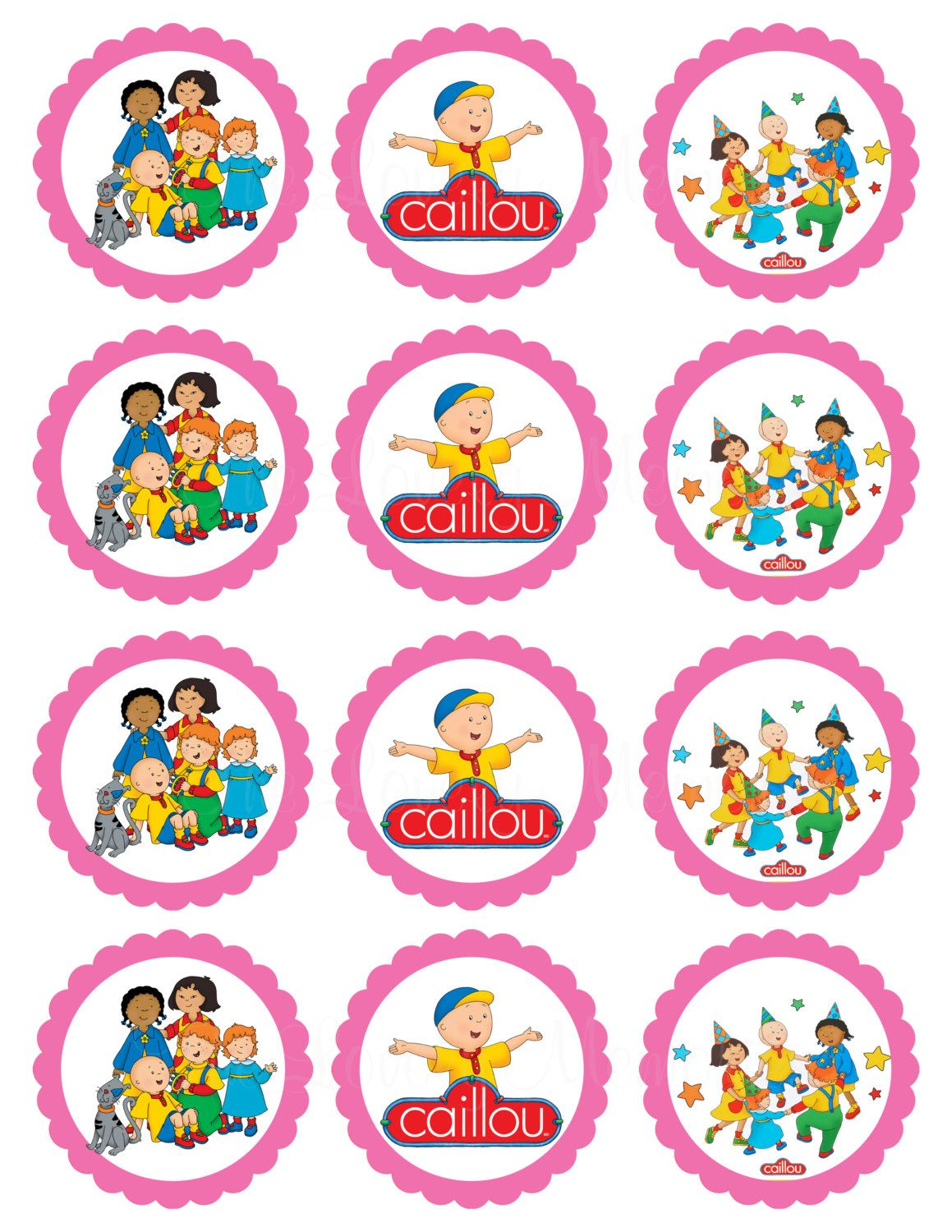 Caillou Theme Inspired Digital Favor Tags In By Thelovelymemories
