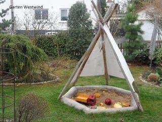 Amazing Tipi Sandkasten aus Garten Westwind Blog ein kleiner Familiengarten