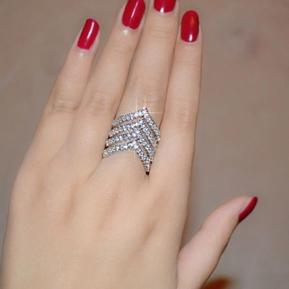 Ring Silver tone ring with CZ Jewelry Rings