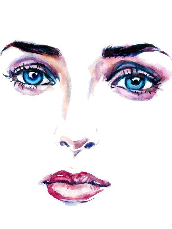 Fashion Illustration Print Watercolor  Eye Painting by ZarStudio, $35.00
