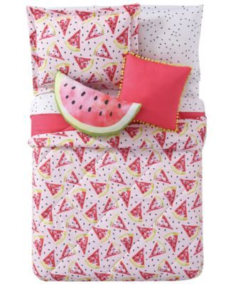 Yummy Watermelon Slices Print Fruits Quilted Bedspread /& Pillow Shams Set