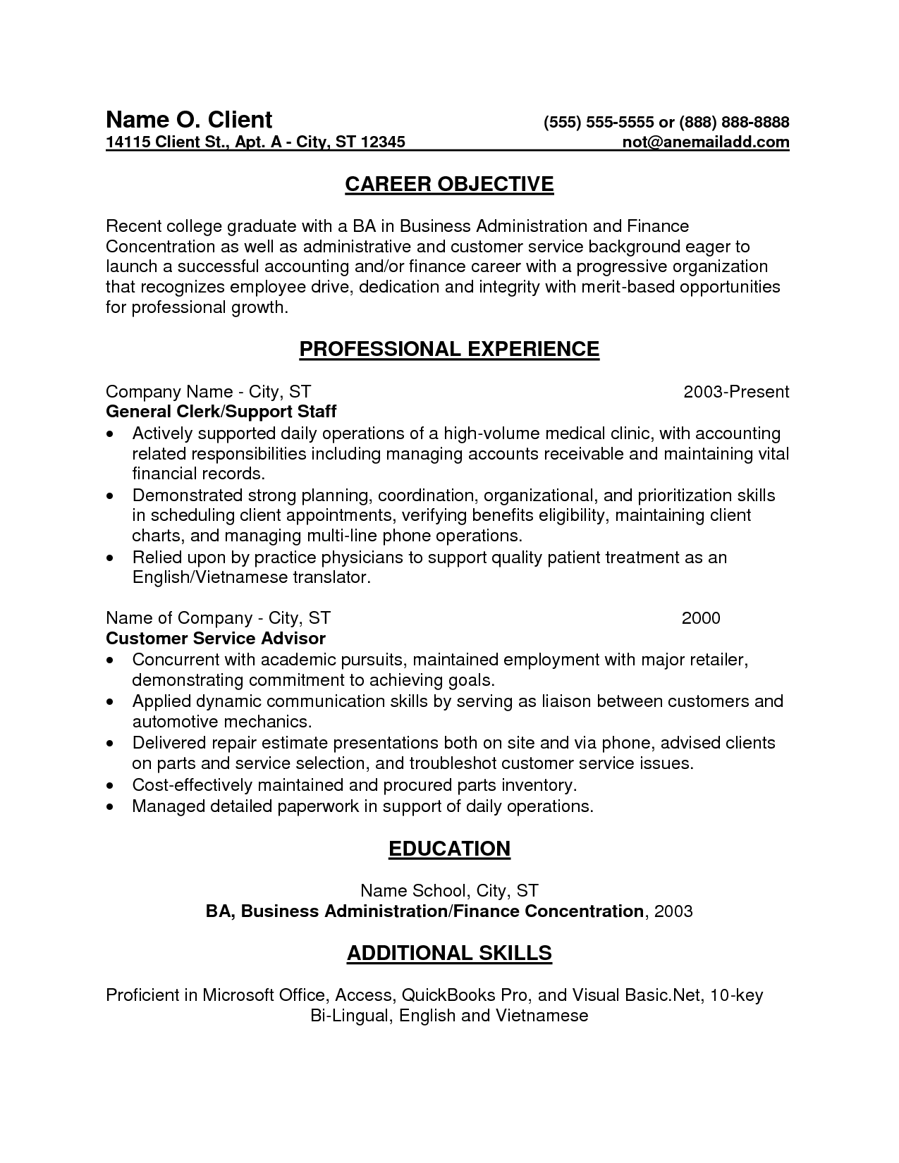 Entry Level Bookkeeper Resume Sample resumecareer – Entry Level Resumes