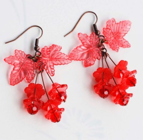 Hot Red Flowers Acrylic Leaf Red Crystal Unique Summer Handmade Earrings