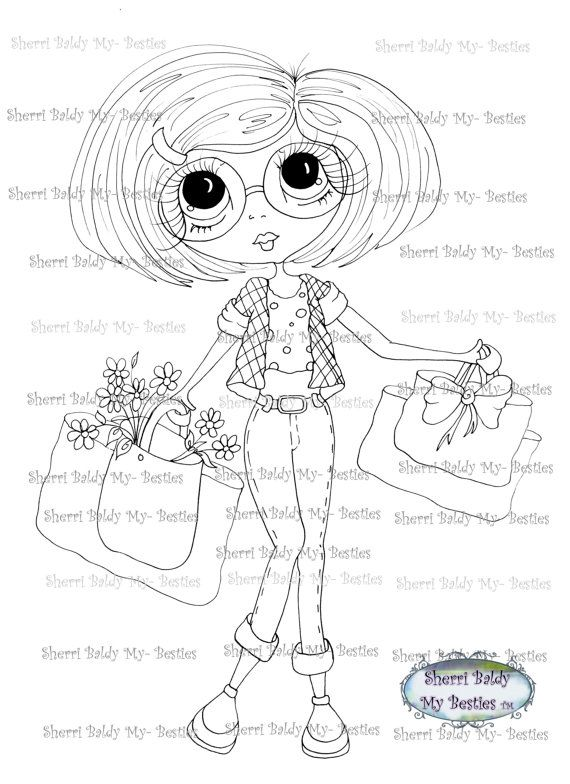 INSTANT DOWNLOAD Digital Digi Stamps Big Eye Big Head Dolls Digi ...