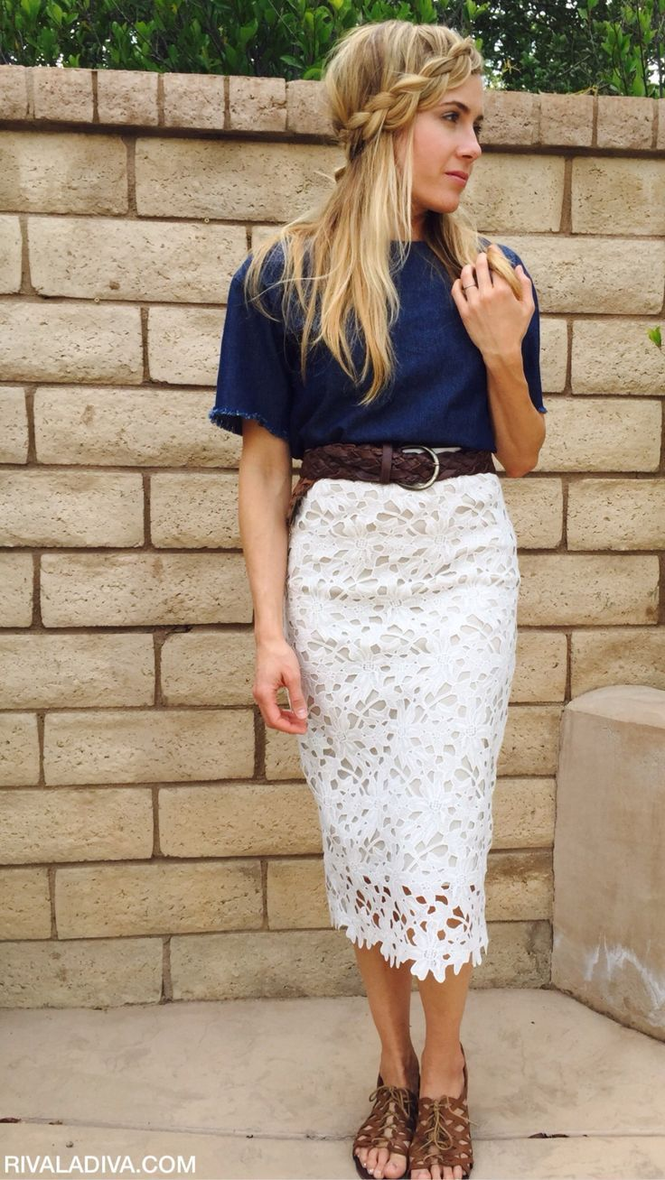 2019 year looks- Wear to what under white lace skirt