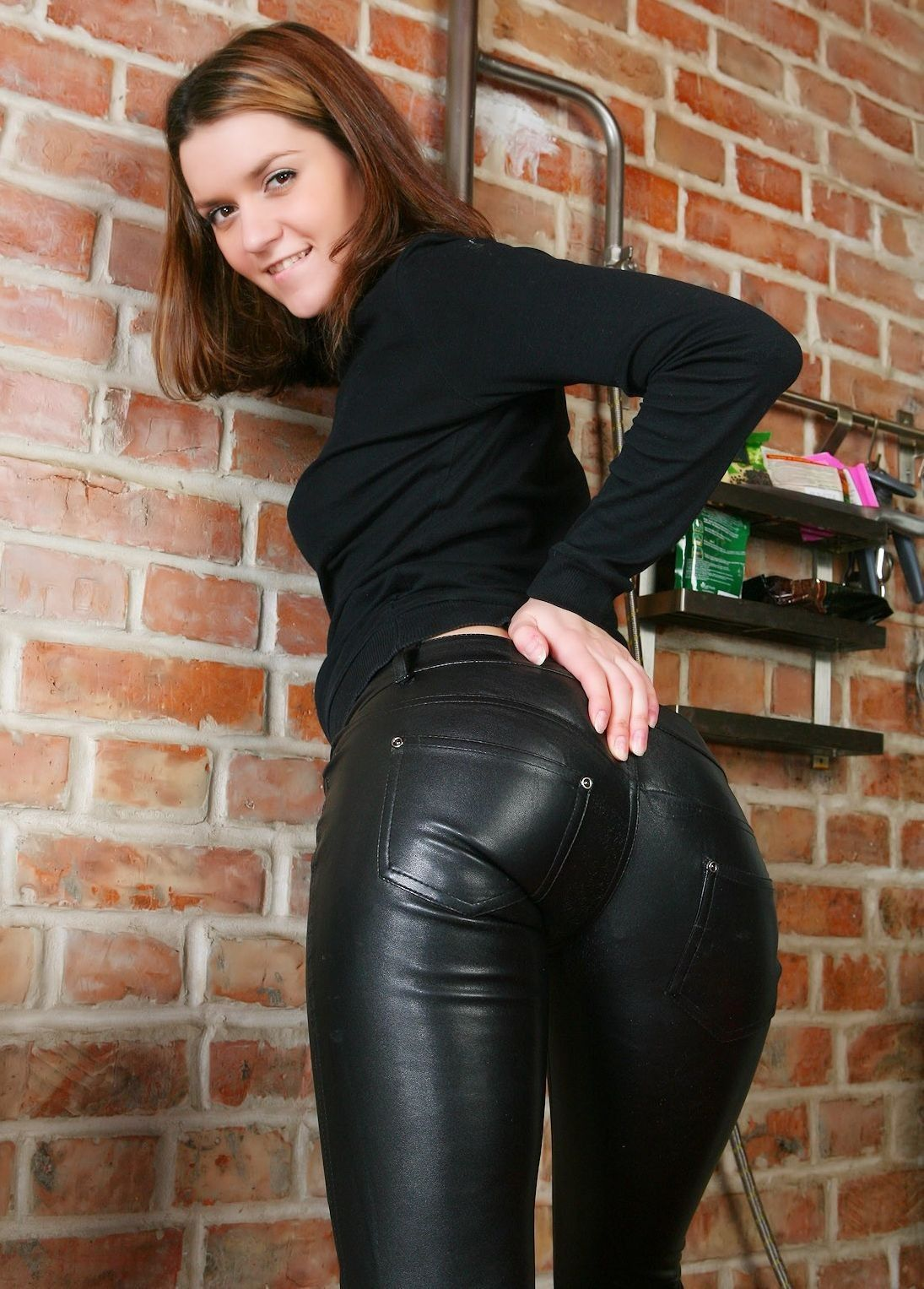 butt pants Amateur leather shiny