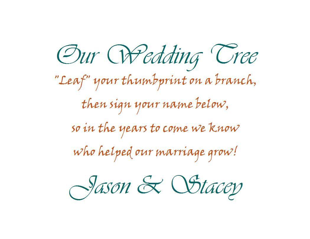 Poem For Wedding Thumbprint Tree 9 99 Via Etsy