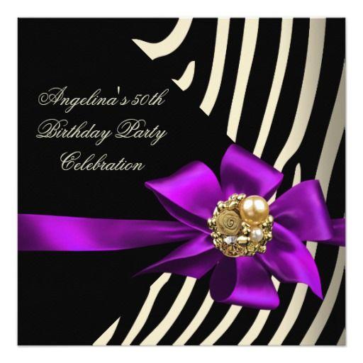 50th Zebra Purple Gold Cream Black Birthday Party Custom