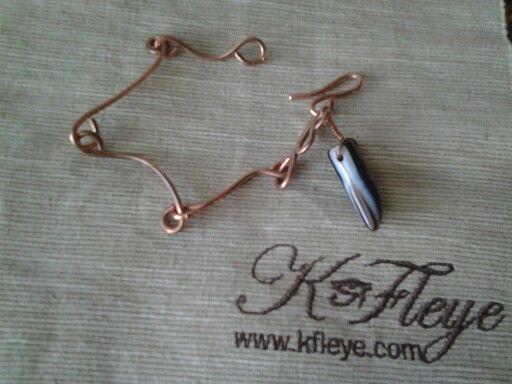 Copper horn link bracelet