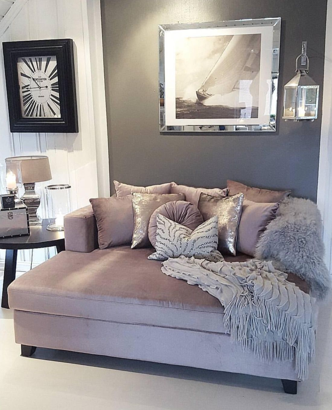 love this mauve gray and white color scheme for the living room lounge couchchaise