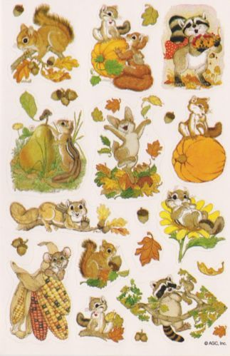 Vintage 80's Rare THANKSGIVING Critters sticker sheet by AGC