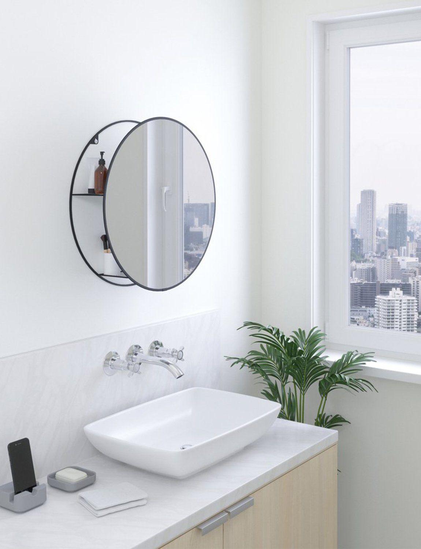 Cirko Black Mirror In 2021 Round Mirror Bathroom Wall Mirror With Shelf Mirror With Shelf [ 1500 x 1150 Pixel ]