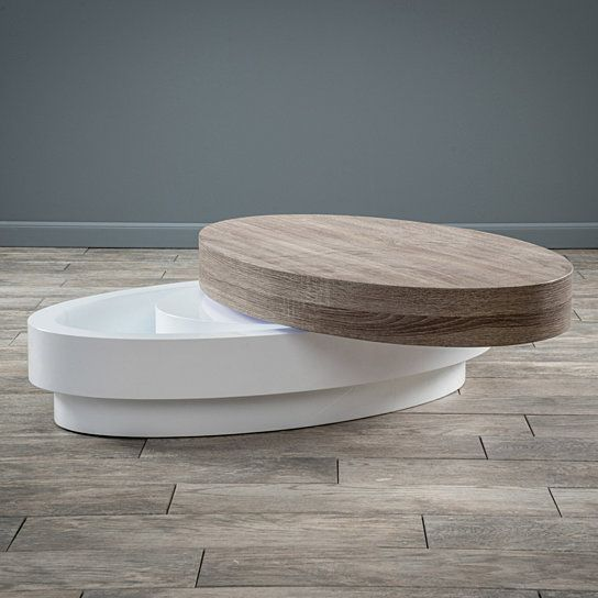 The Large Oval Mod Rotatable Coffee Table With Sonoma Top Offers A Clear  Late 60u0027s Vibe To Any Room It Is Placed In. With A Rotating Top This Table  Is ...